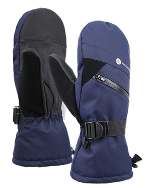 Andorra Men's Textured Touchscreen Ski Mittens w/ Zipper Pocket - Navy
