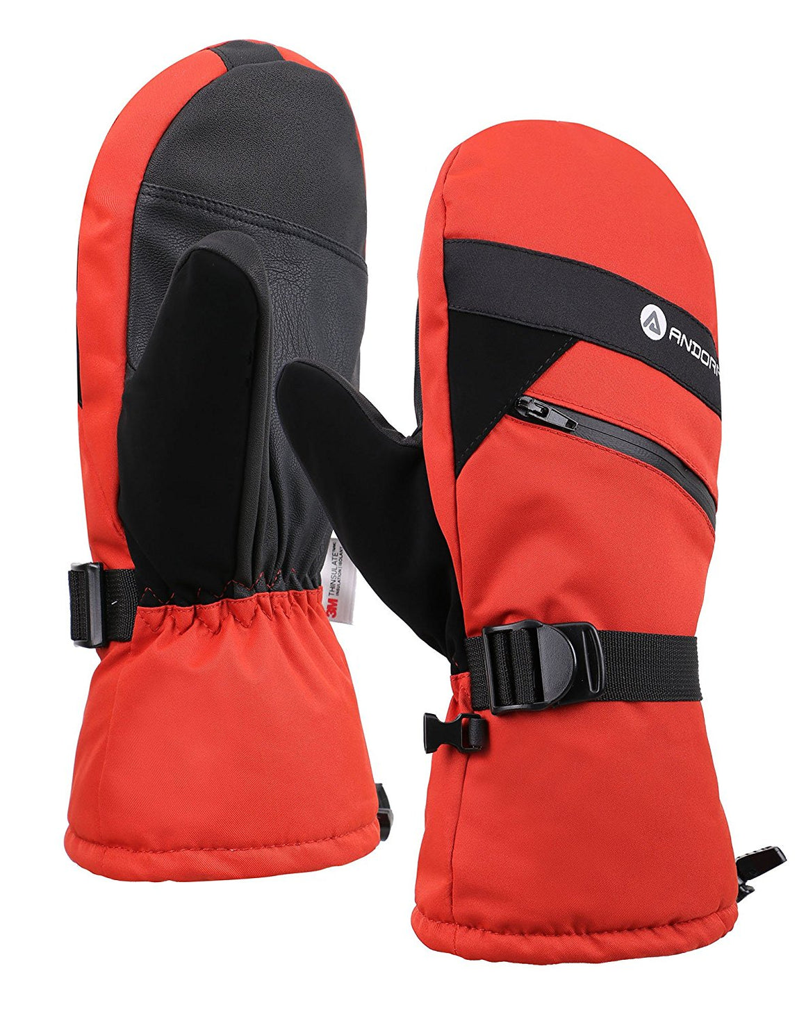 Andorra Men's Textured Touchscreen Ski Mittens w/ Zipper Pocket - Orange