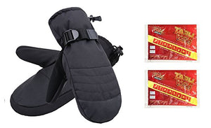Men's Alpine Ski Mittens with Handwarmer Pocket - Black