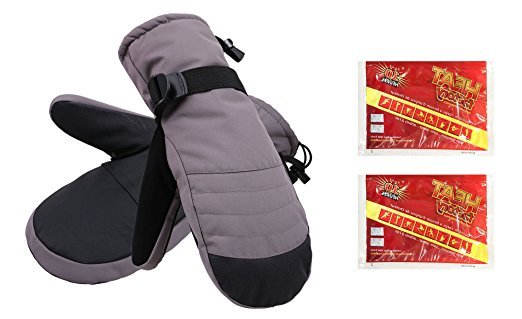 Men's Alpine Ski Mittens with Handwarmer Pocket - Grey