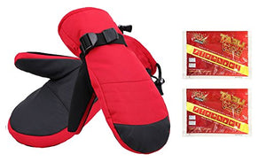 Men's Alpine Ski Mittens with Handwarmer Pocket - Red