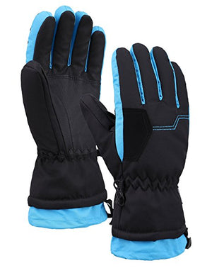 Andorra Kid's Two Tone Geometric Ski Gloves - Black w/ Neon Blue Trim