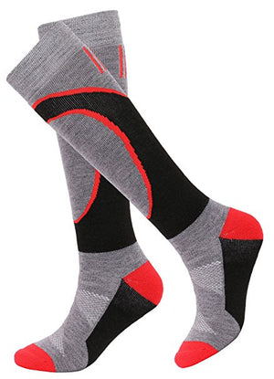Andorra Air Cushioned Merino Wool Full Terry Ski Socks (Red/Black/Charcoal)