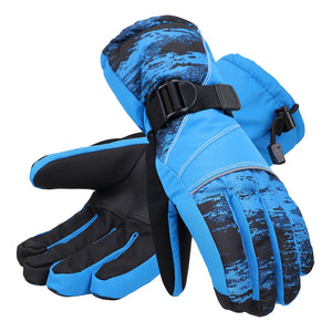 Andorra Men's Abstract Deluxe Touchscreen Sport Ski Gloves - Blue Streak