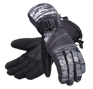 Andorra Men's Abstract Deluxe Touchscreen Sport Ski Gloves - Grey Streak
