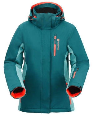 Andorra Women's Performance Insulated Ski Jacket with Zip-Off Hood - Green/Teal/Orange