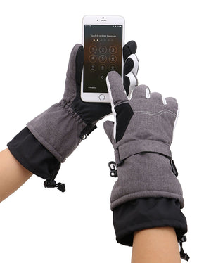 Andorra Women's Two-Tone Geometric Touchscreen Ski Glove - Heather Grey