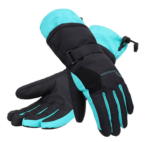 Andorra Women's Two-Tone Geometric Touchscreen Ski Glove - Neon Blue