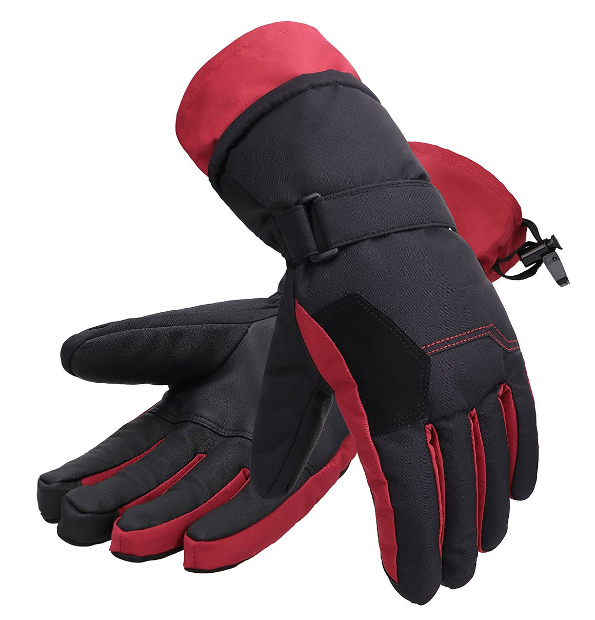 Andorra Women's Two-Tone Geometric Touchscreen Ski Glove - Red