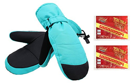 Women's Alpine Ski Mittens with Handwarmer Pocket - Neon Blue