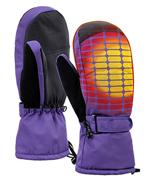Women's Alpine Ski Mittens with Handwarmer Pocket - Purple