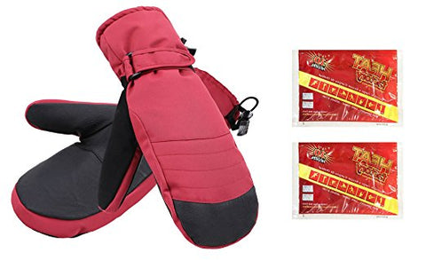 Women's Alpine Ski Mittens with Handwarmer Pocket - Scarlet