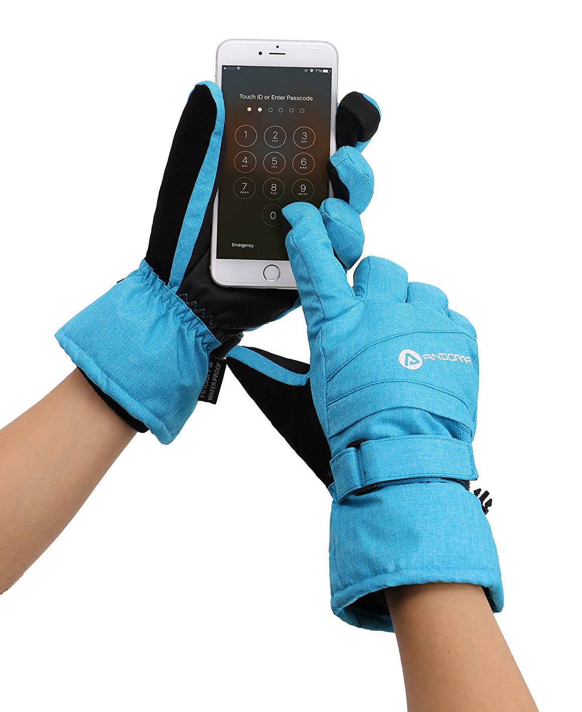 Andorra Women's Classic Zippered Pocket Touchscreen Ski Glove - Blue