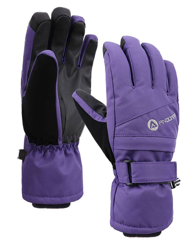 Andorra Women's Classic Zippered Pocket Touchscreen Ski Glove - Purple