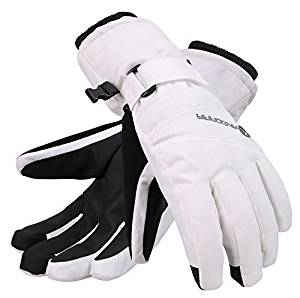 Andorra Women's Classic Zippered Pocket Touchscreen Ski Glove - White