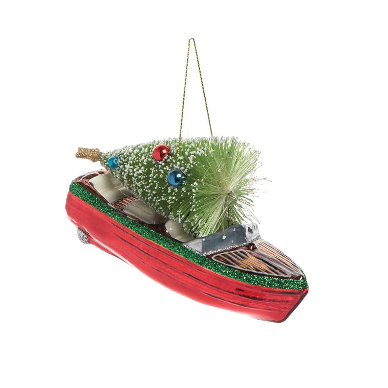 Runabout Boat and Tree Ornament