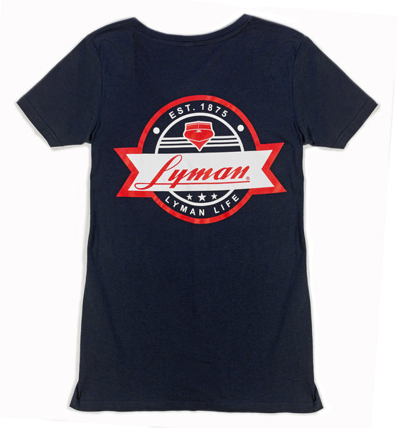 Ladies V-neck Multi-Colored Patch Tee