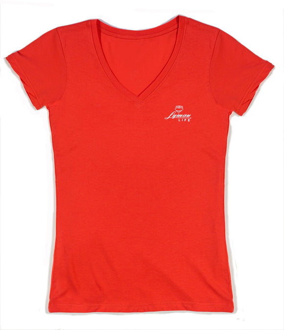 Ladies V-neck Distressed Logo Tee - Coral