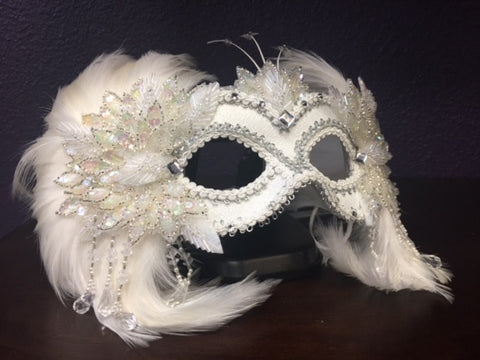 White Beaded & Feathered Mask