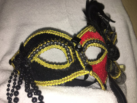 Red and Black Velvet Mask with Gold Lining
