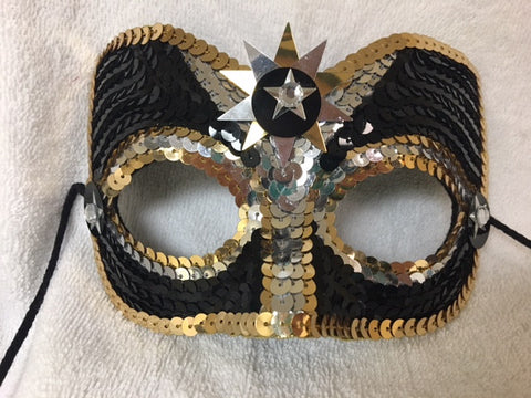 Black, Gold, and White Sequin Star Mask