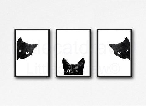 Buy sneaky and peeking black cat set of 3 prints watercolor wall decor watercolour wall art at littlecatdraw for only 12 00