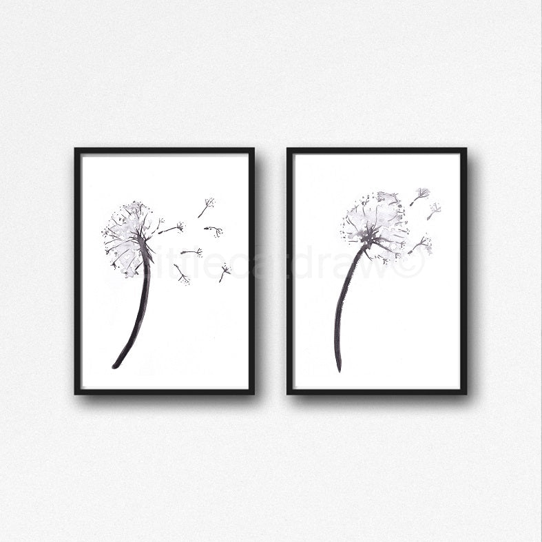 Buy Black And White Dandelions Watercolor Painting Peony Print