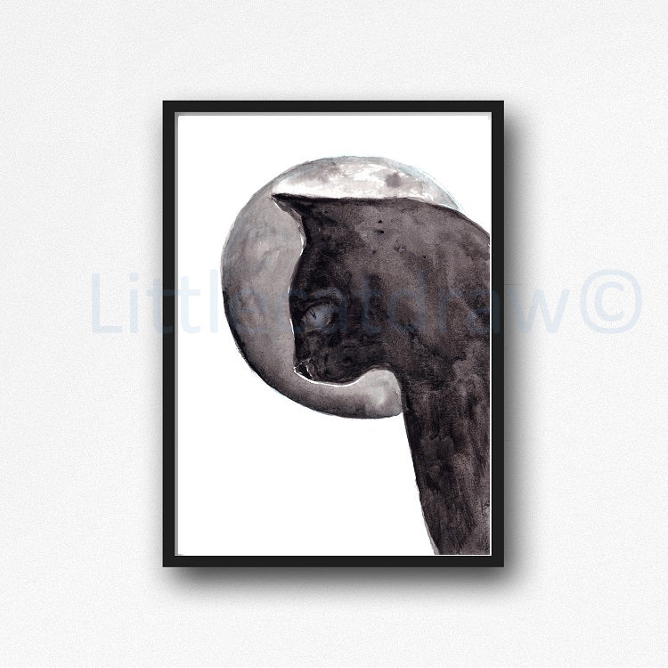Buy Black Cat and The Moon Watercolor Painting Print Watercolour ...
