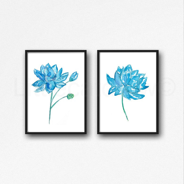 Buy Blue Lotus Flower Watercolor Painting Print Sacred Lotus Flower