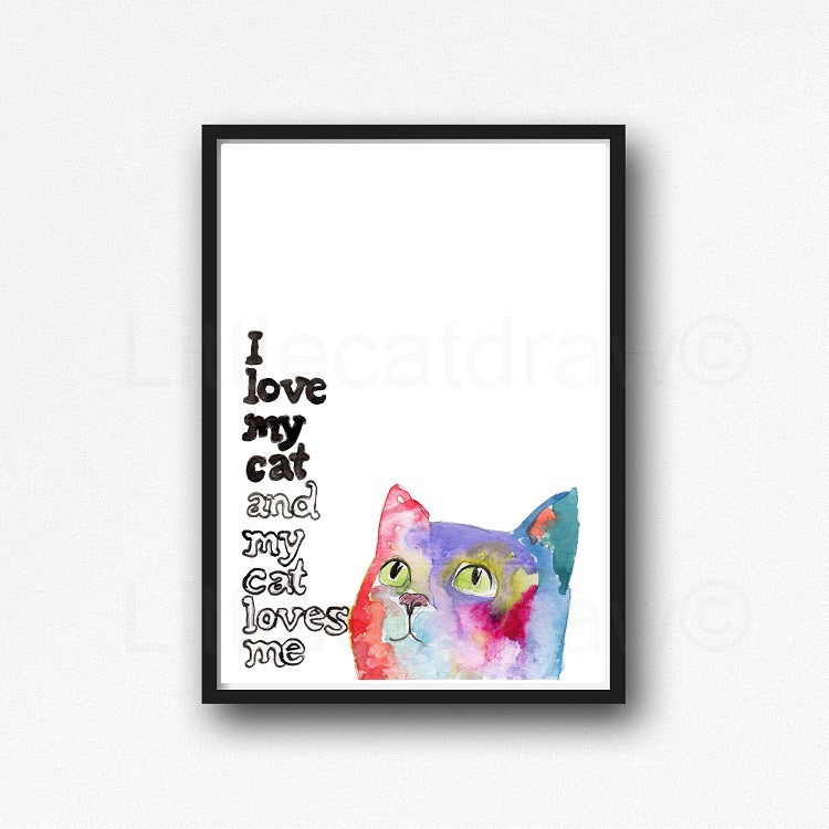 Buy I Love My Cat And My Cat Loves Me Rainbow Cat Watercolor