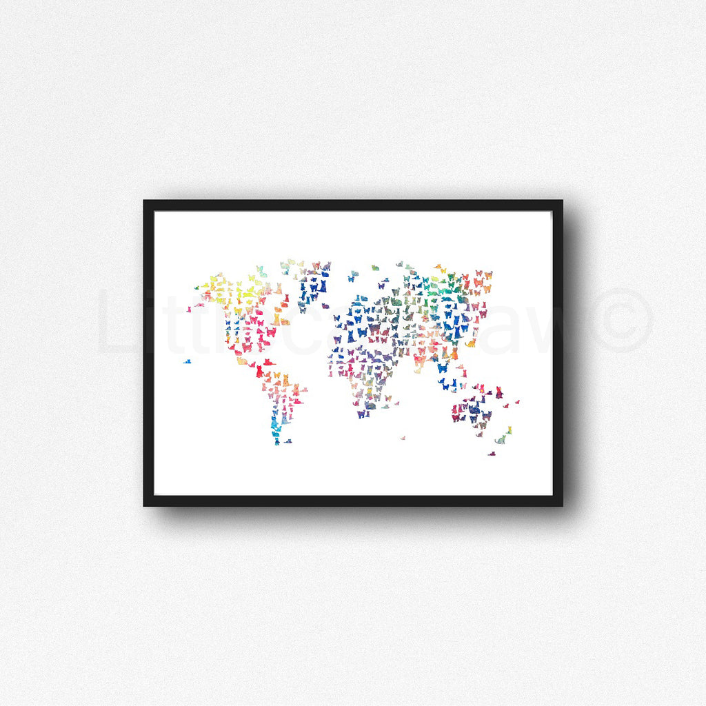 Buy Rainbow World Map Watercolor Painting Print Watercolour Wall