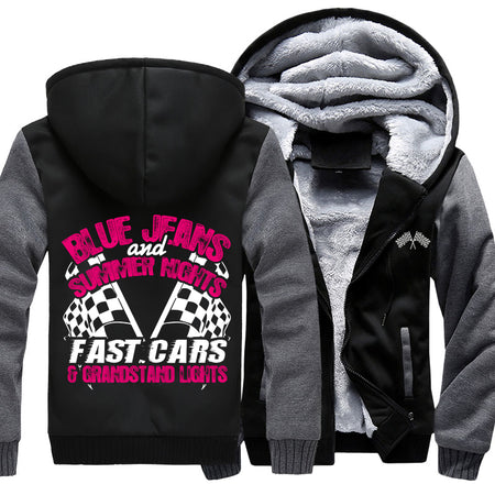 Blue Jeans And Summer Nights, Fast Cars And Grandstands Lights Jacket With FREE SHIPPING!