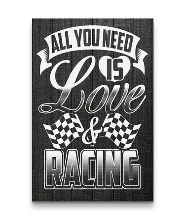 All You Need Is Love And Racing Canvas Portrait Canvas - Portrait 12x18