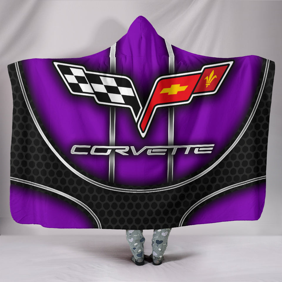 Corvette C6 Hooded Blanket Purple With FREE SHIPPING TODAY!