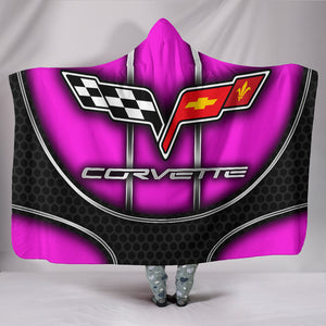 Corvette C6 Hooded Blanket Pink With FREE SHIPPING TODAY!