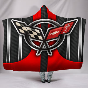 Corvette C5 Hooded Blanket Red With FREE SHIPPING TODAY!