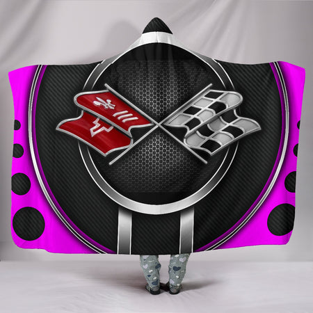 Corvette C3 Hooded Blanket Pink With FREE SHIPPING TODAY!