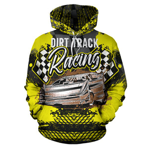 Dirt Track Racing All Over Print Hoodie Yellow With FREE SHIPPING TODAY!