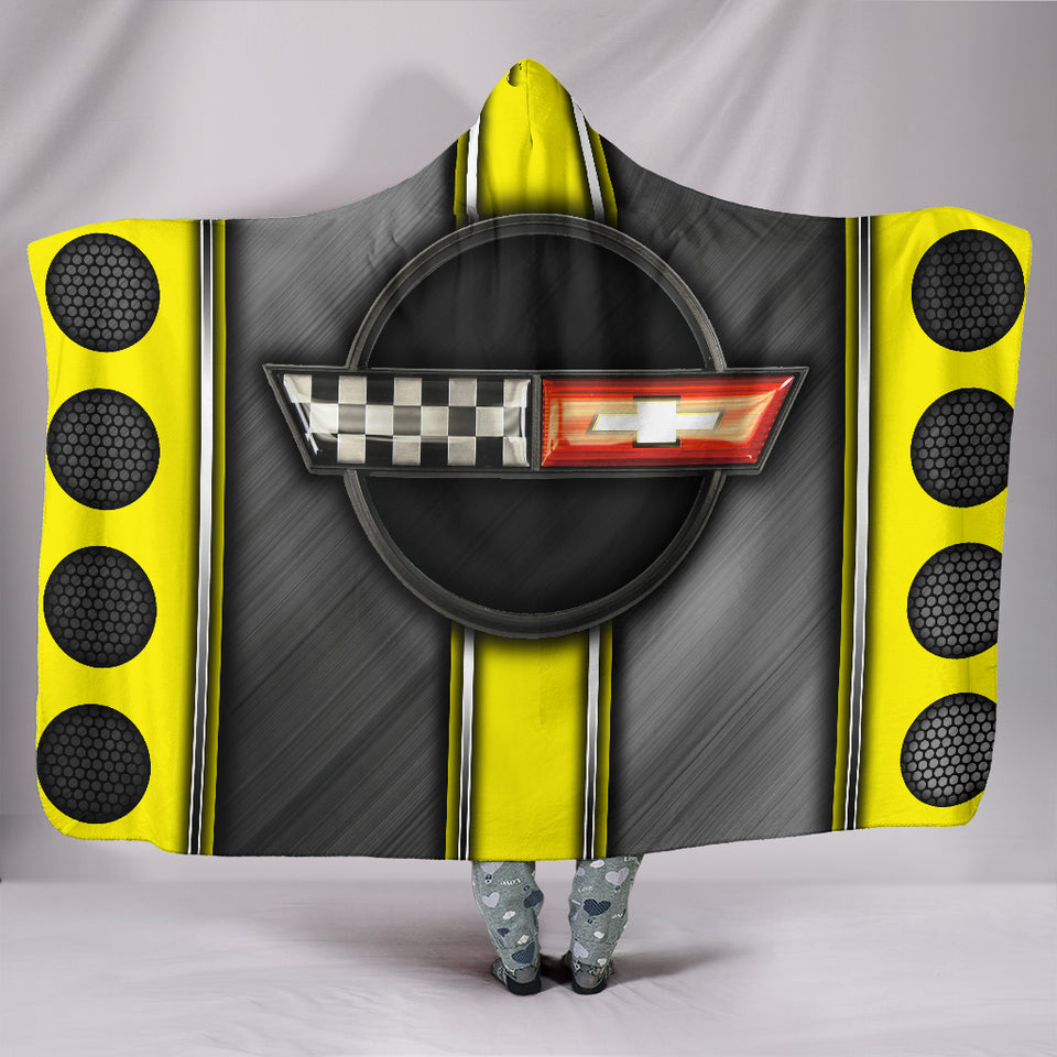 Corvette C4 Hooded Blanket Yellow With FREE SHIPPING TODAY!