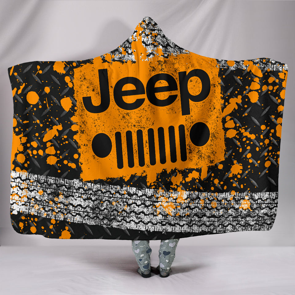 Jeep Hooded Blanket Orange With FREE SHIPPING TODAY!