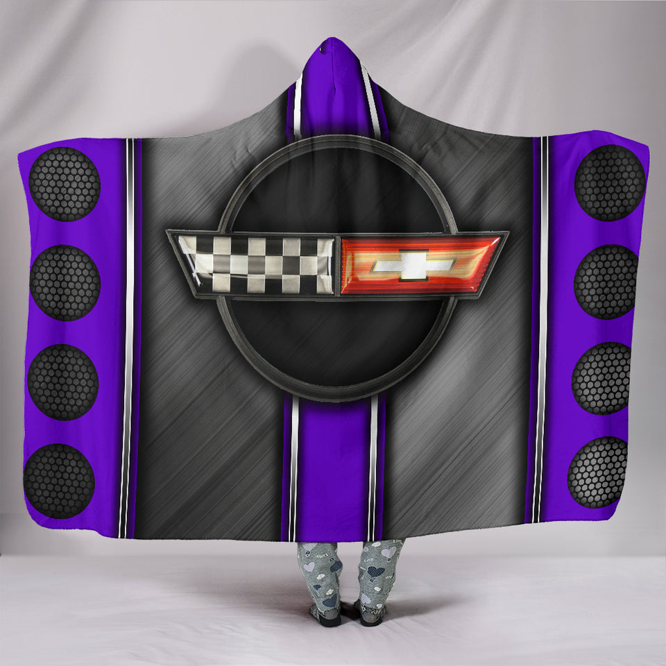 Corvette C4 Hooded Blanket Purple With FREE SHIPPING TODAY!