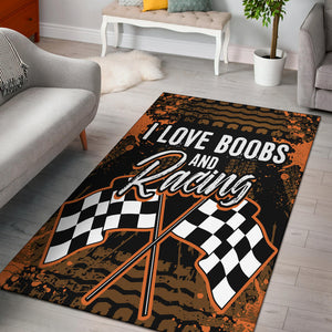 I Love Boobs And Racing Rug With FREE SHIPPING!