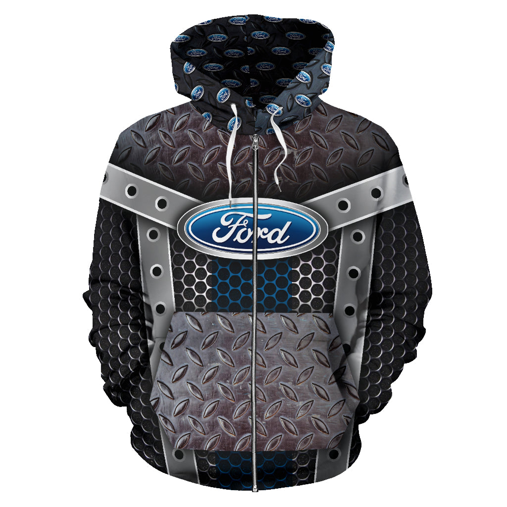 Ford All Over Print Zip Up Hoodie With FREE SHIPPING TODAY!