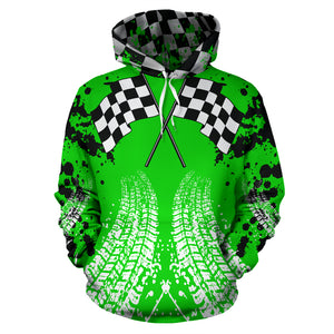 Racing All Over Print Hoodie Green With FREE SHIPPING TODAY!