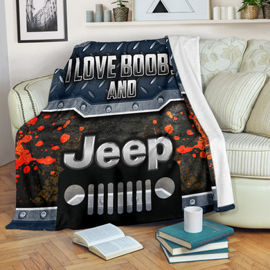I Love Boobs And Jeep Blanket With FREE SHIPPING!