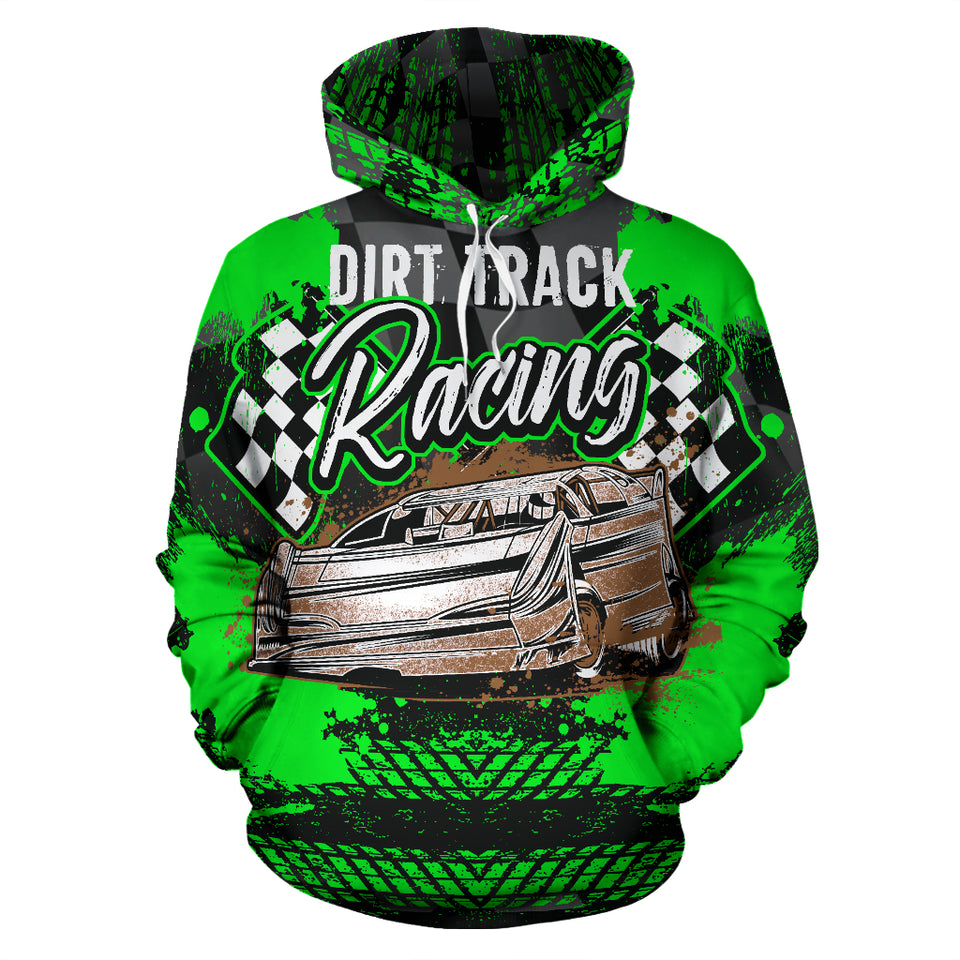 Dirt Track Racing All Over Print Hoodie Green With FREE SHIPPING TODAY!
