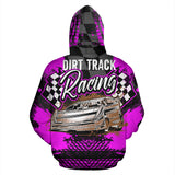 Dirt Track Racing All Over Print Hoodie Pink With FREE SHIPPING TODAY!