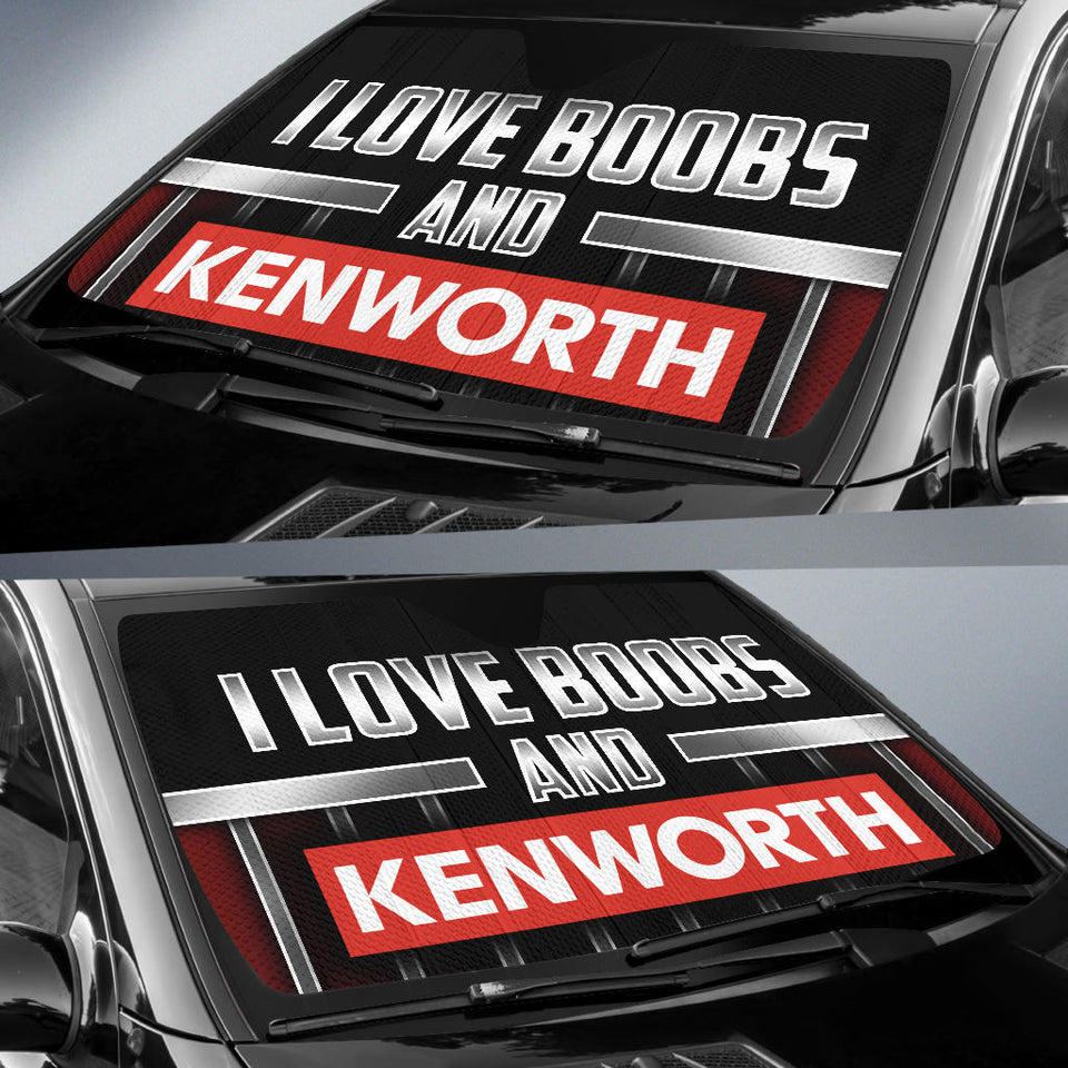 I Love Boobs And Kenworth Windshield Sun Shade With FREE SHIPPING!