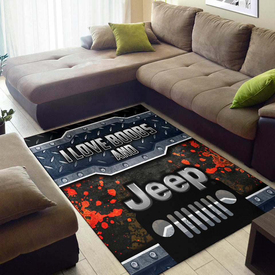I Love Boobs And Jeep Rug With FREE SHIPPING!
