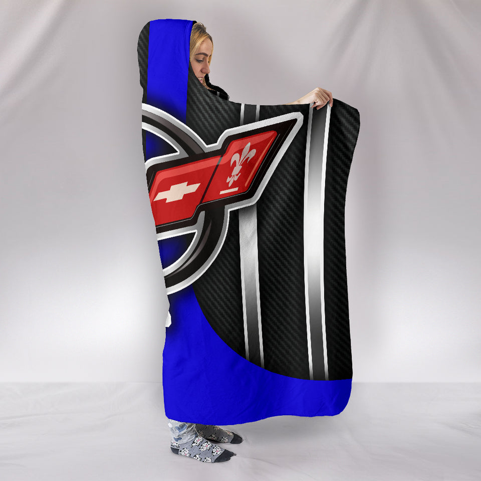 Corvette C5 Hooded Blanket Blue With FREE SHIPPING TODAY!